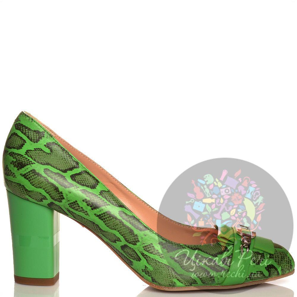 Туфли Giorgio Fabiani кожаные зеленые с принтом Питон
