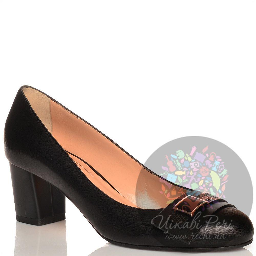 Туфли Giorgio Fabiani с пряжкой кожаные черные на низком каблучке