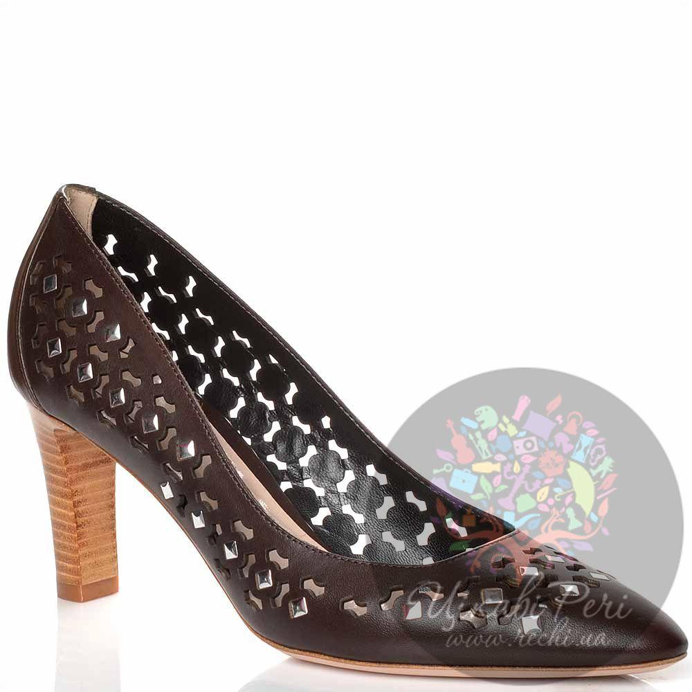 Туфли Giorgio Fabiani темно-коричневые кожаные с ажурной перфорацией