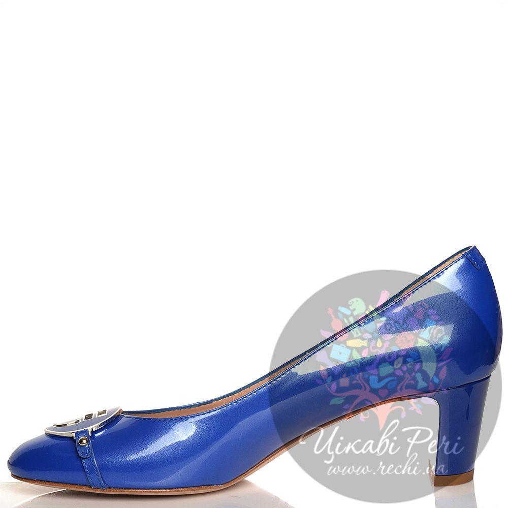 Туфли Giorgio Fabiani кожаные лаковые синие на низком каблучке