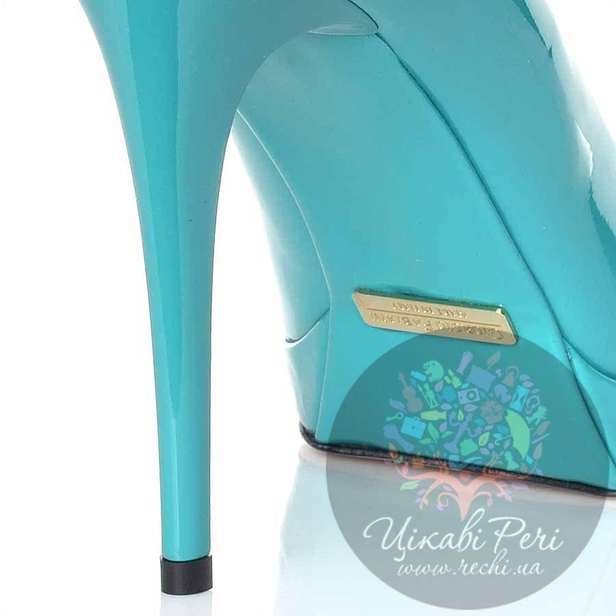 Туфли Giorgio Fabiani кожаные лаковые бирюзовые на шпильке