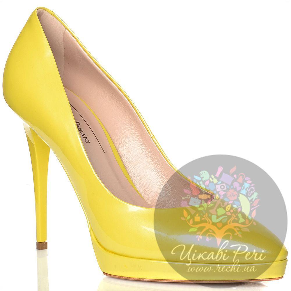 Туфли Giorgio Fabiani кожаные лаковые желтые на шпильке