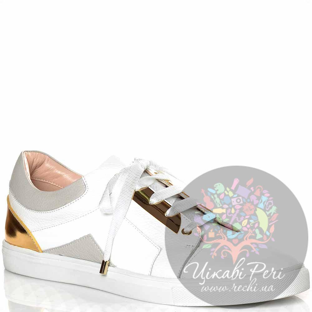 Кеды Giorgio Fabiani кожаные лаковые белые с золотым и светло-серым декором