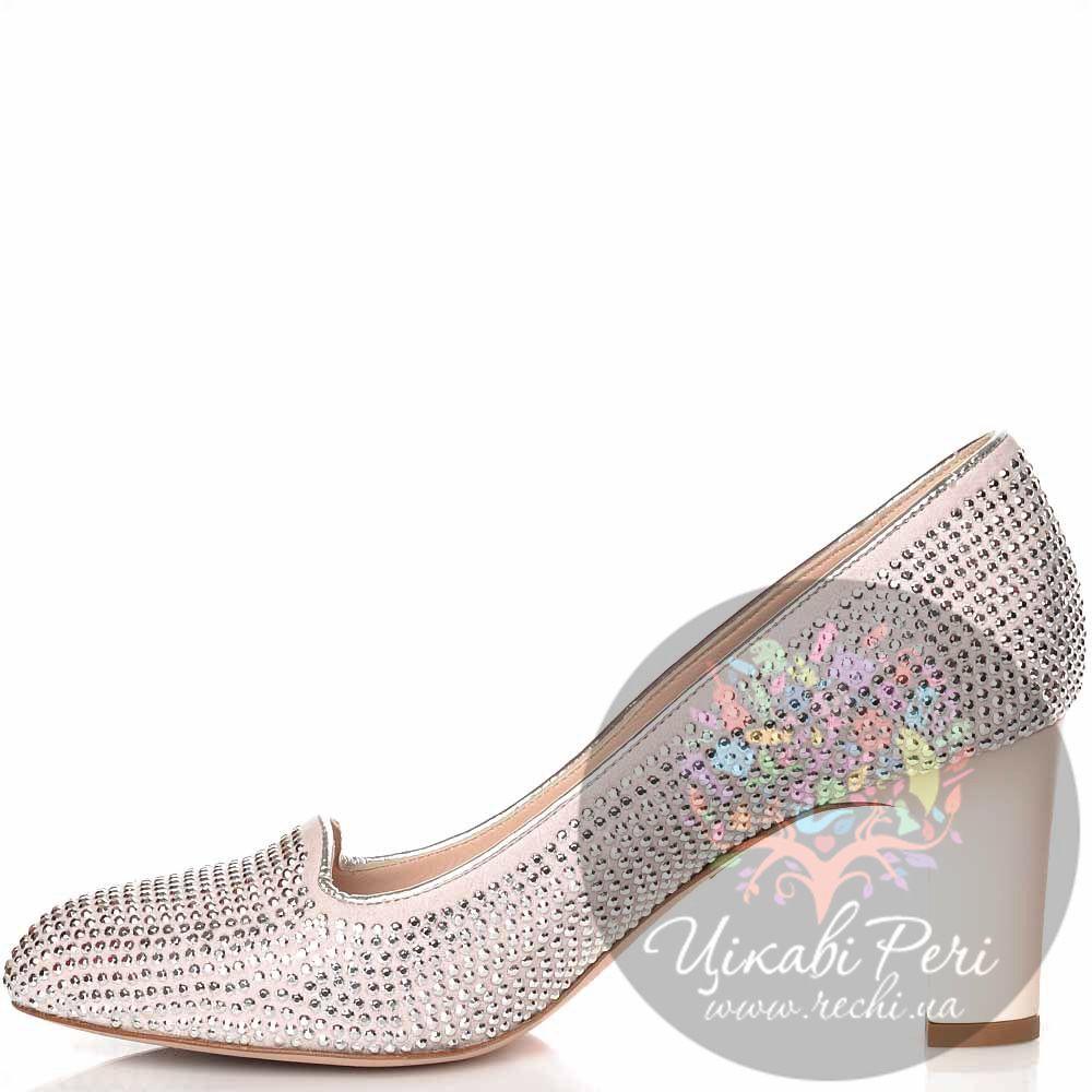 Туфли Giorgio Fabiani кожаные пудрово-серебристые с декором в виде страз из металла