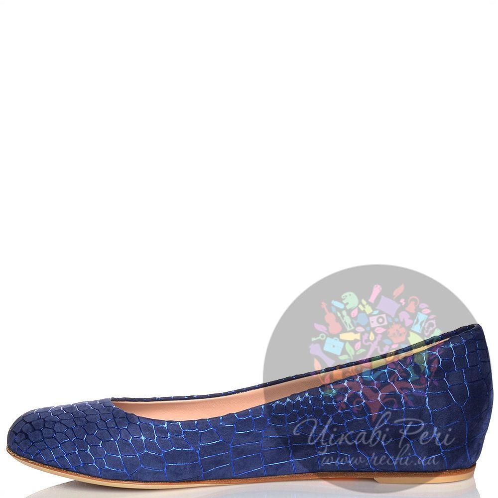 Туфли Giorgio Fabiani синие из нубука на скрытой невысокой танкетке