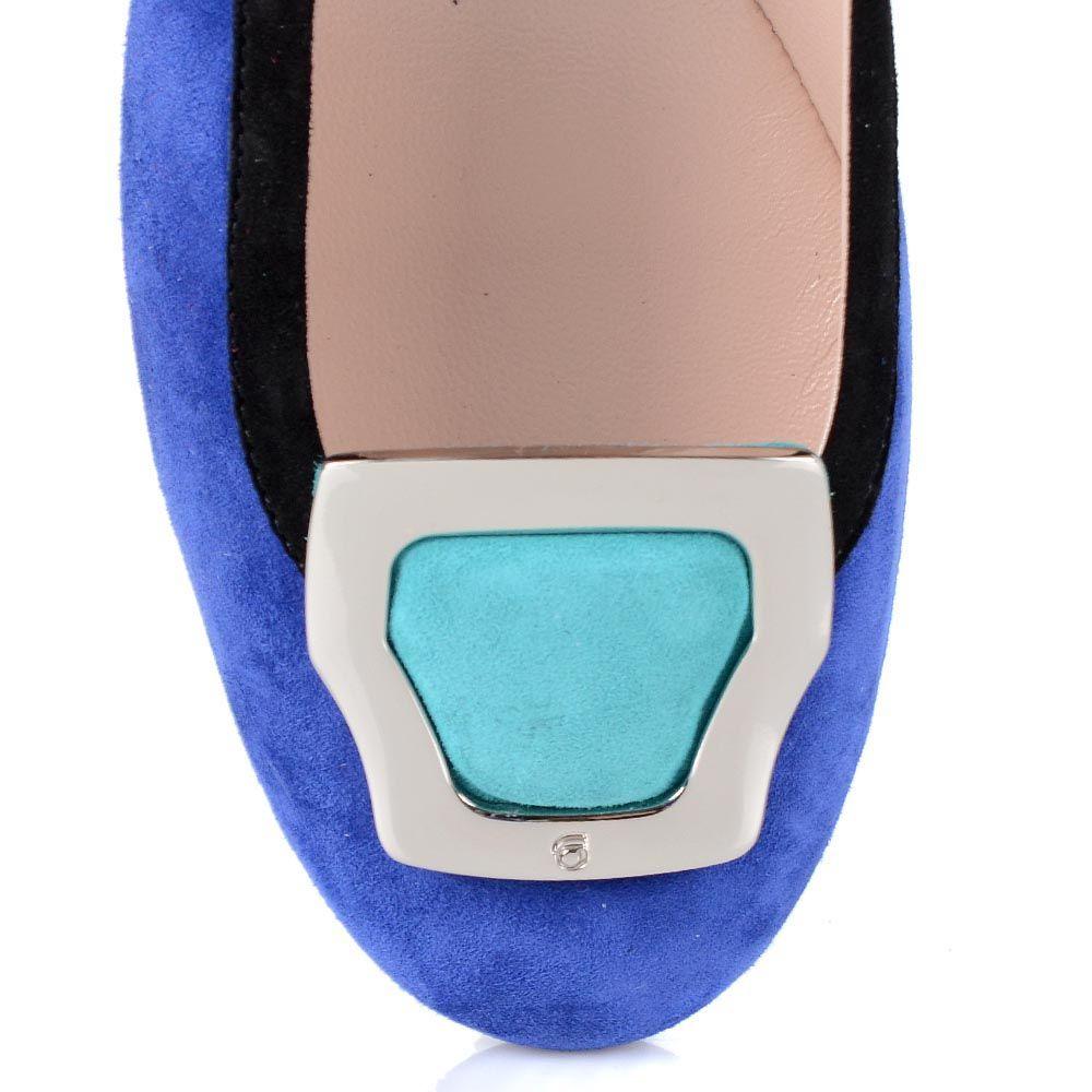 Замшевые туфли Giorgio Fabiani насыщенно-синего цвета с пряжкой из голубой замши
