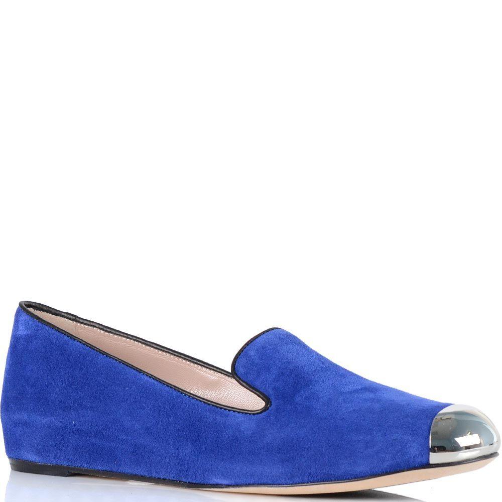 Женские туфли Giorgio Fabiani из синей замши с металлическим носком