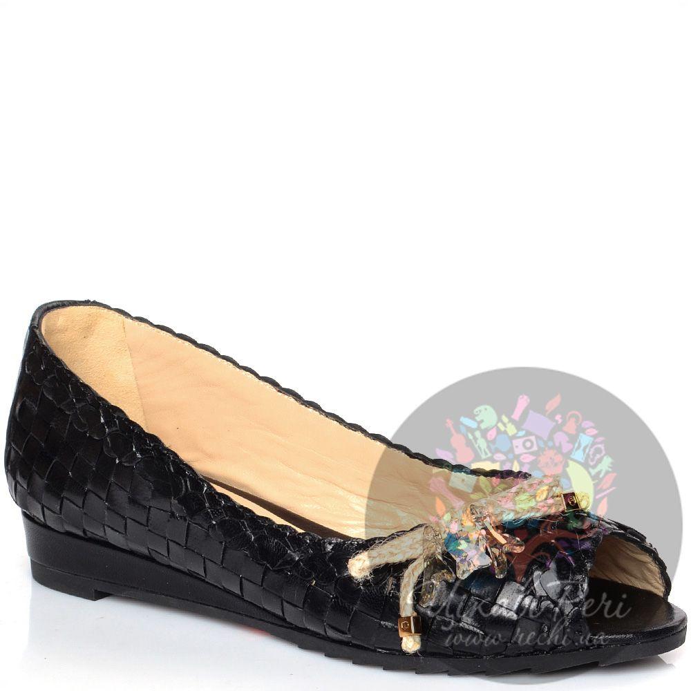 Туфли Giorgio Fabiani на низком ходу плетеные кожаные черные с открытым носком