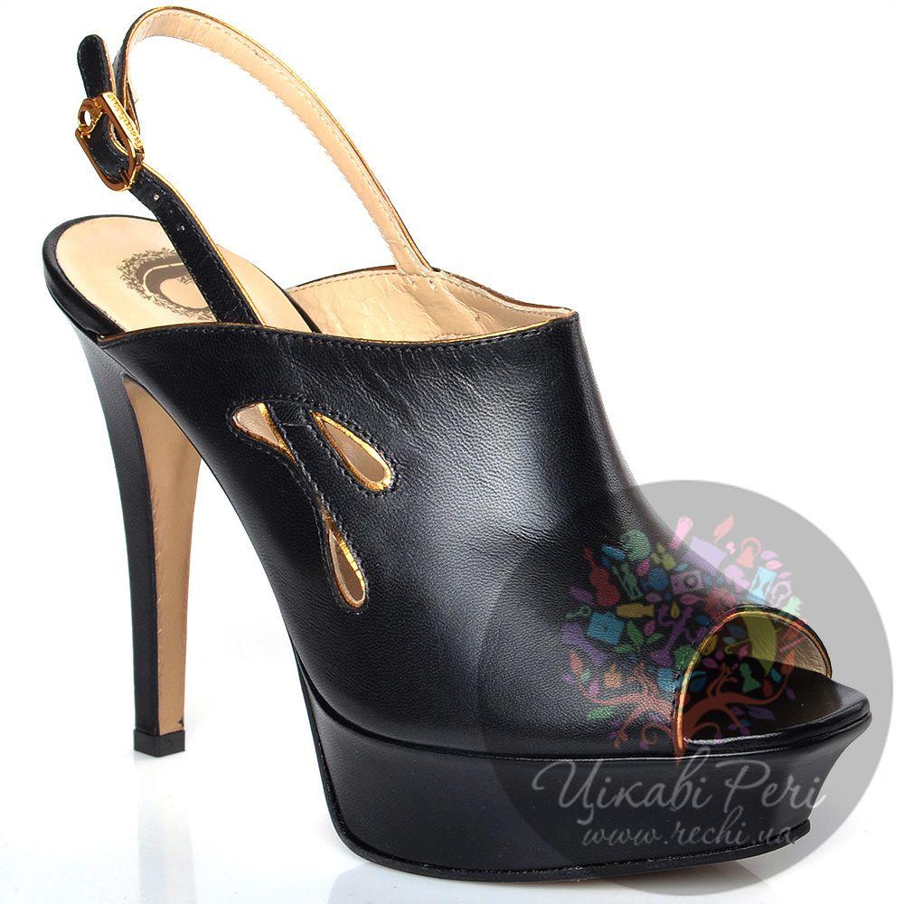 Босоножки Giorgio Fabiani закрытые черные кожаные на высоком каблуке
