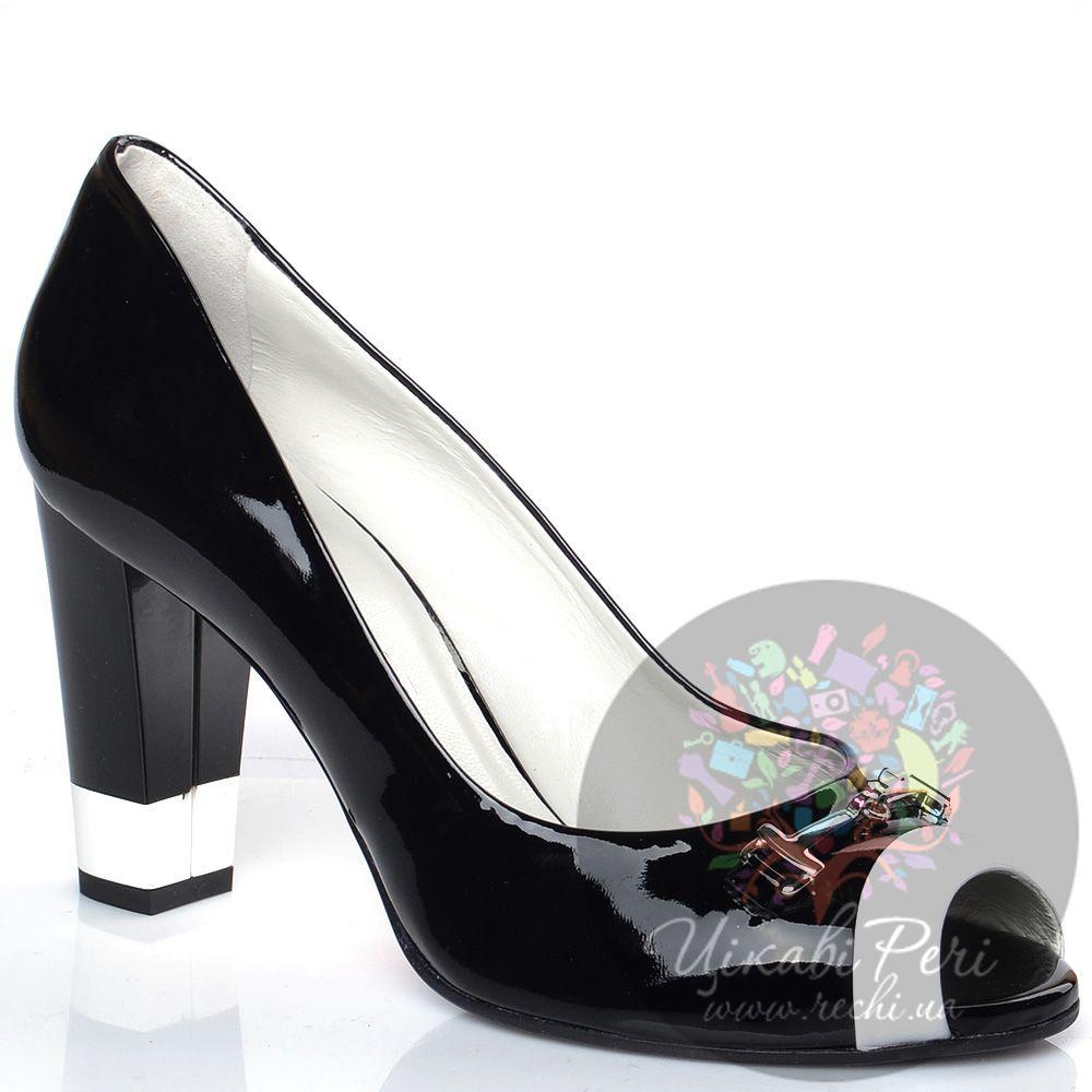Туфли Giorgio Fabiani черно-белые из лаковой кожи с открытым носком