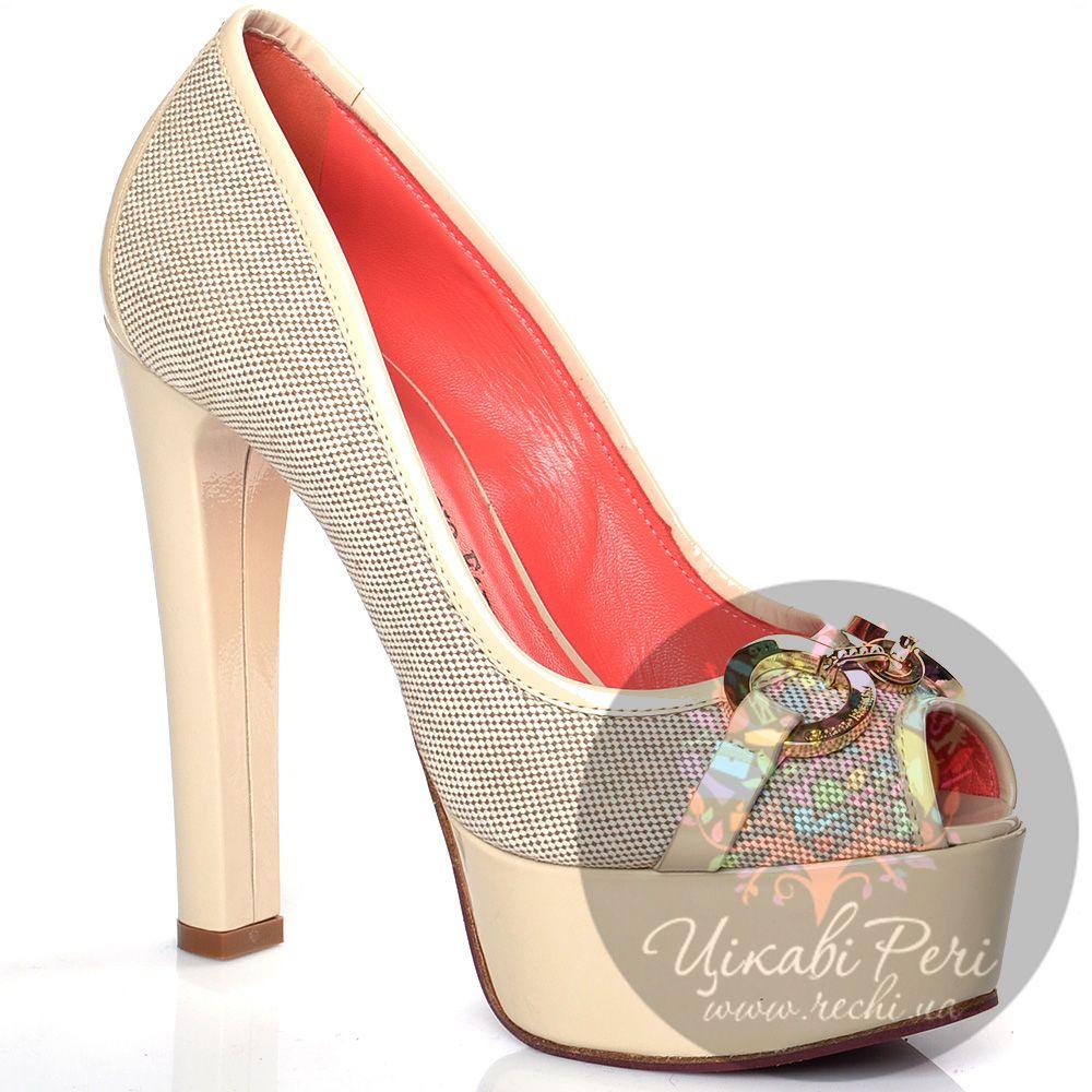 Туфли Giorgio Fabiani молочного цвета на высоком лаковом каблуке-столбике
