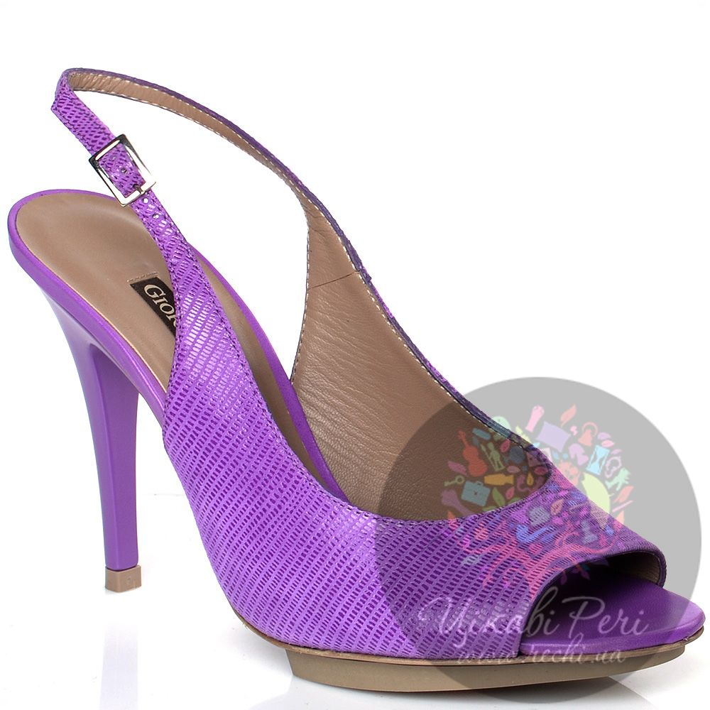 Босоножки Giorgio Fabiani на шпильке из пурпурной кожи со змеиной фактурой