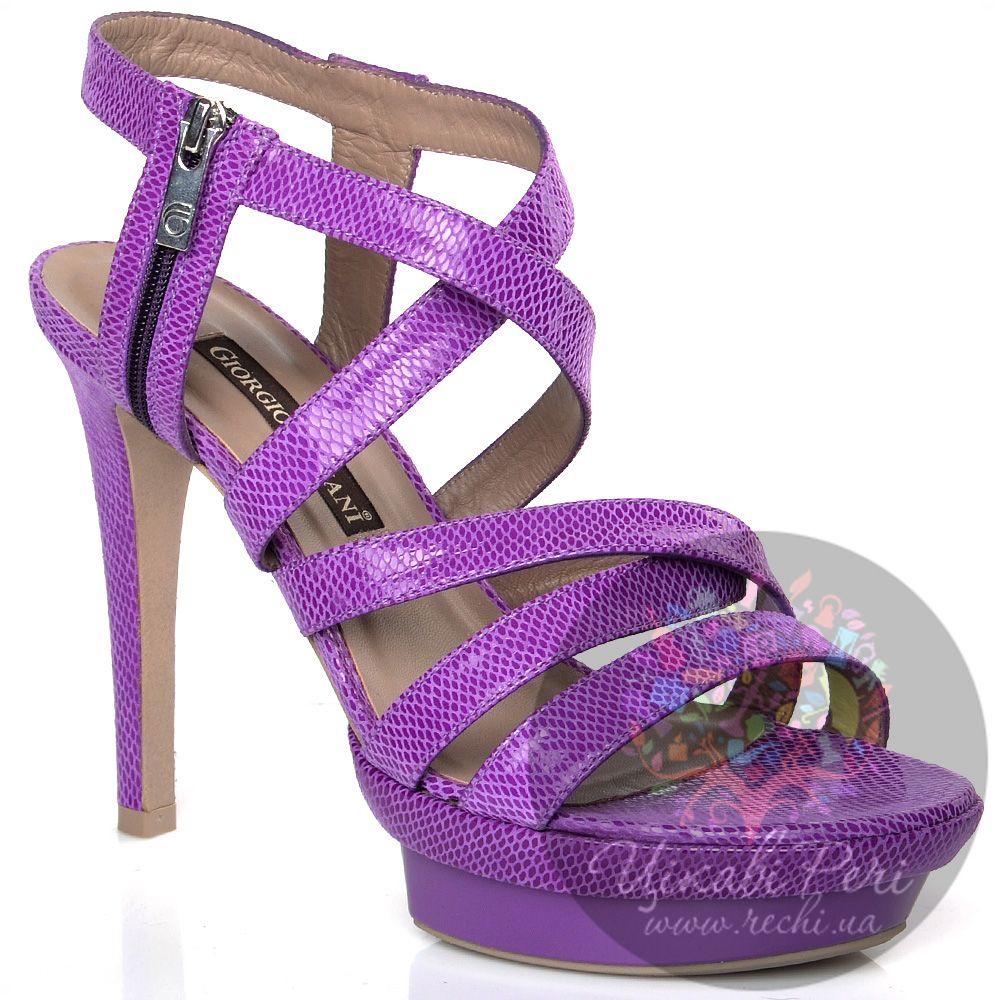 Босоножки Giorgio Fabiani из пурпурных кожаных ремешков со змеиной фактурой