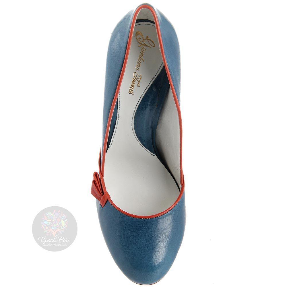 Кожаные туфли Giordano Torresi голубого цвета с красными вставками