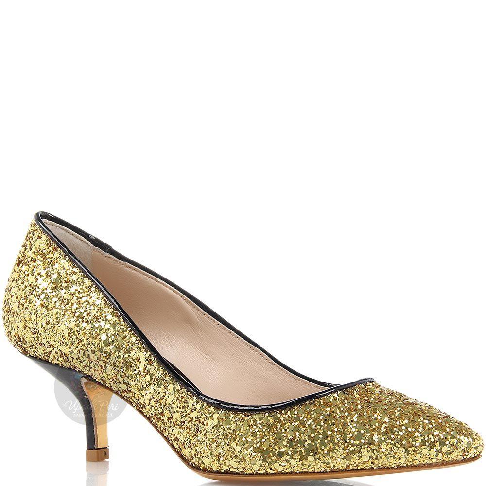 Туфли-лодочки Giordano Torresi с золотыми блестками на низком каблуке