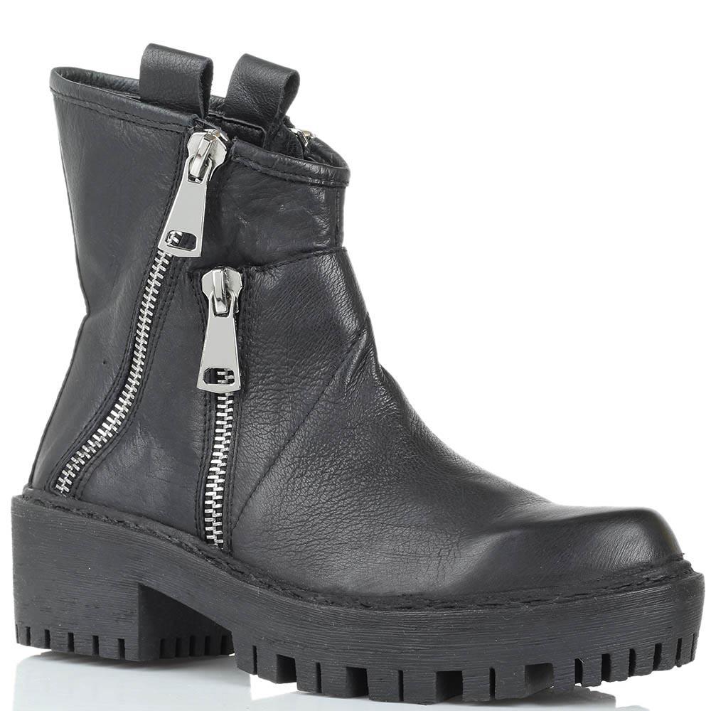 Кожаные ботинки черного цвета Studio Italia с декоративными молниями