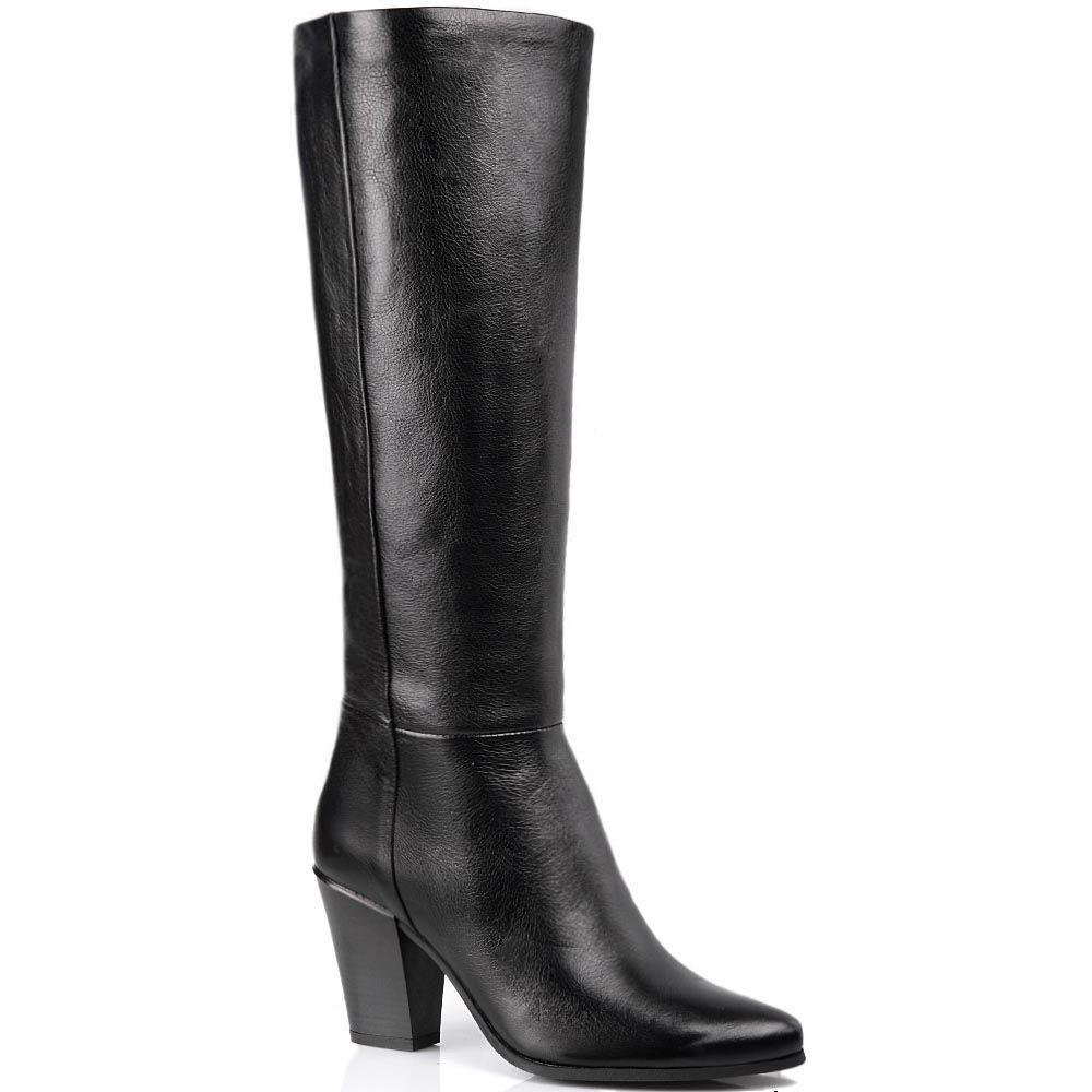 Сапоги Cafe Noir Linea Glamour кожаные черные осенние на английском каблуке