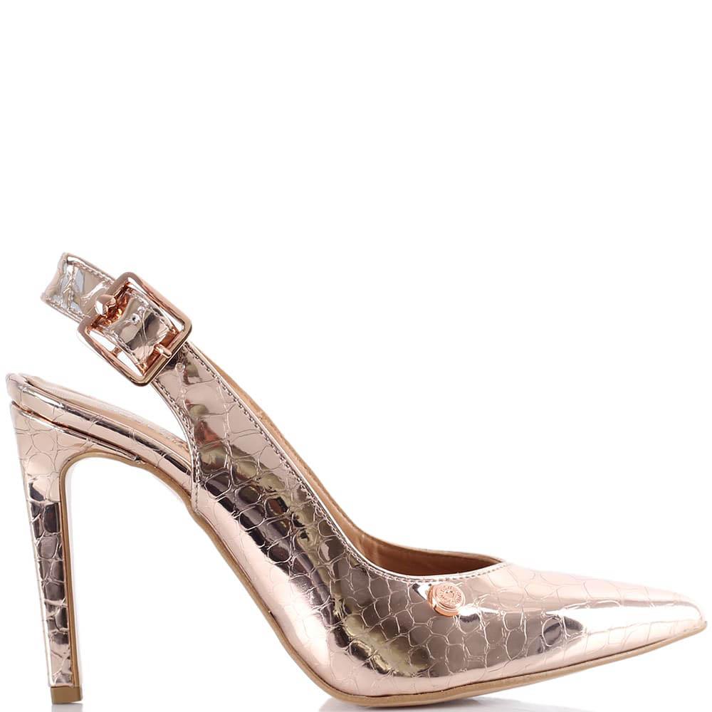 Золотистые туфли Love Moschino с открытой пяткой на высокой шпильке