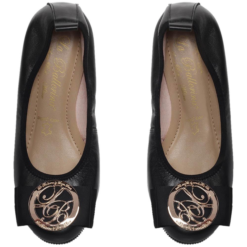 Кожаные балетки черного цвета La Ballerina с бантом