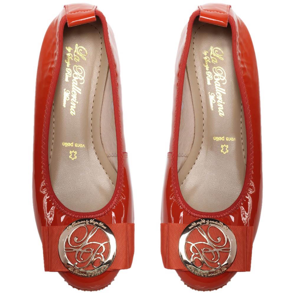 Балетки из лаковой кожи красного цвета La Ballerina с бантом
