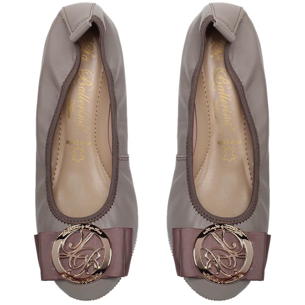 Кожаные балетки серого цвета La Ballerina с бантом