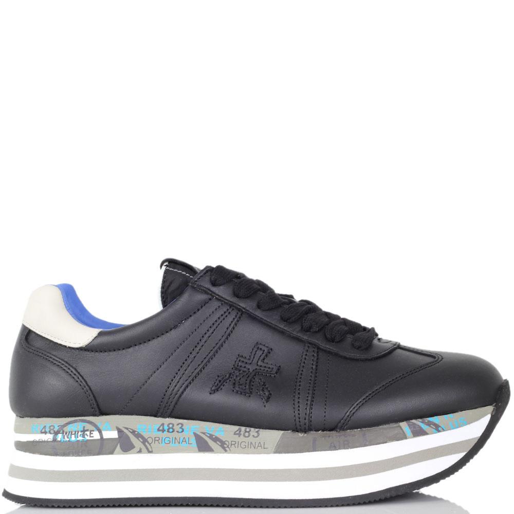 Черные кроссовки Premiata на бело-голубой высокой подошве