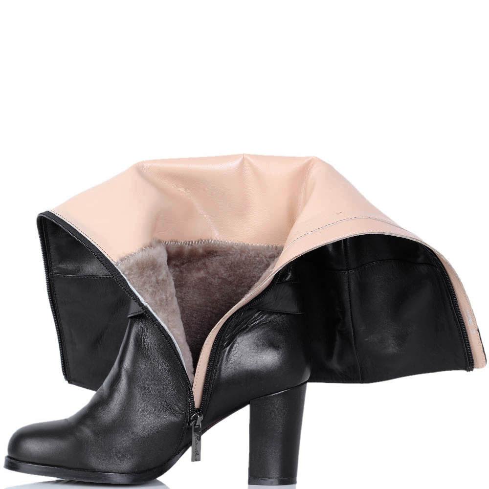 Зимние кожаные сапоги Nocturne Rose черного цвета на устойчивом каблуке