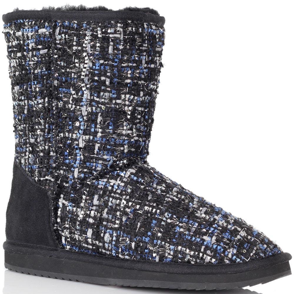 Текстильные угги Massimo Santini черные с синими вкраплениями
