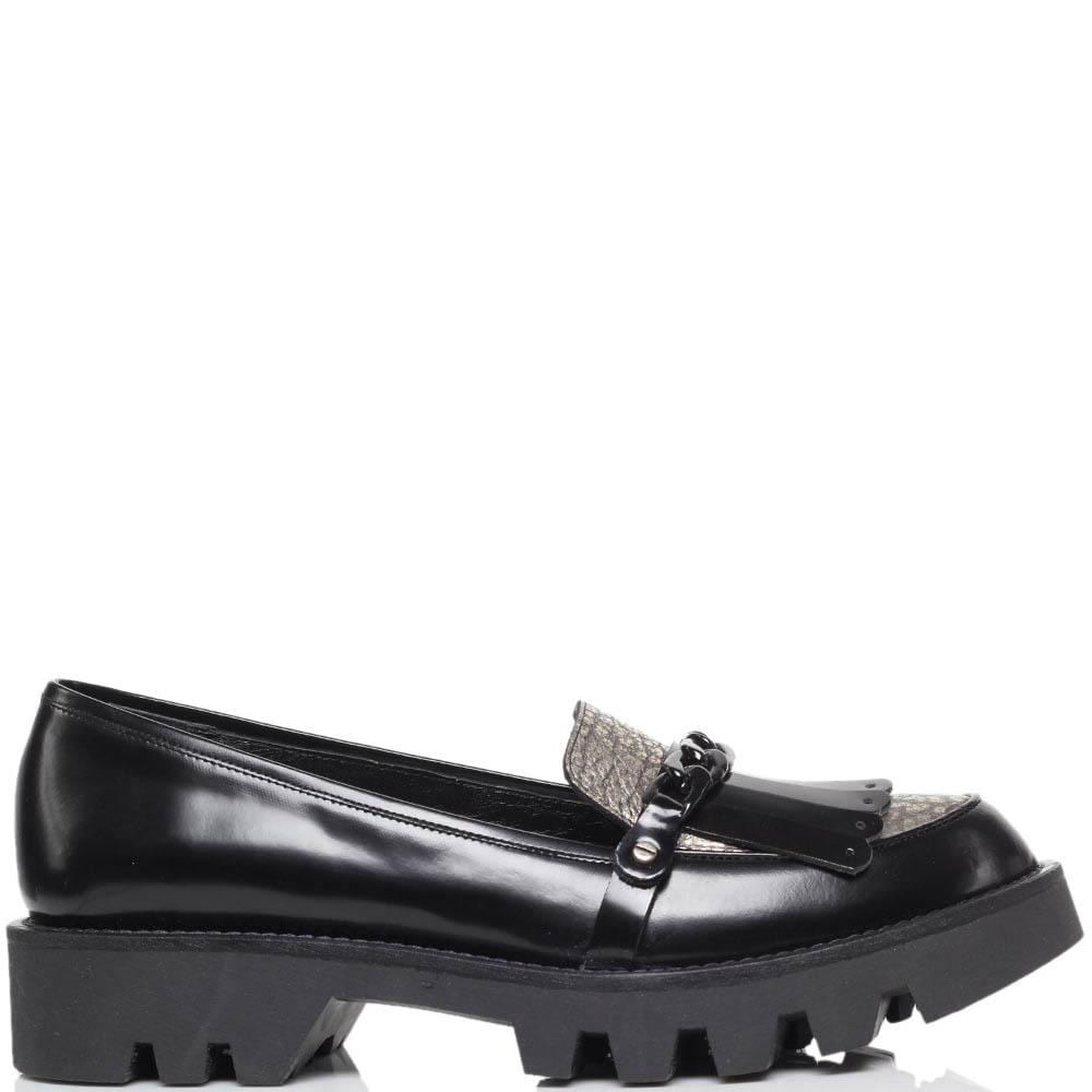 Кожаные туфли-лоферы черного цвета MAC Collection с декоративной цепью