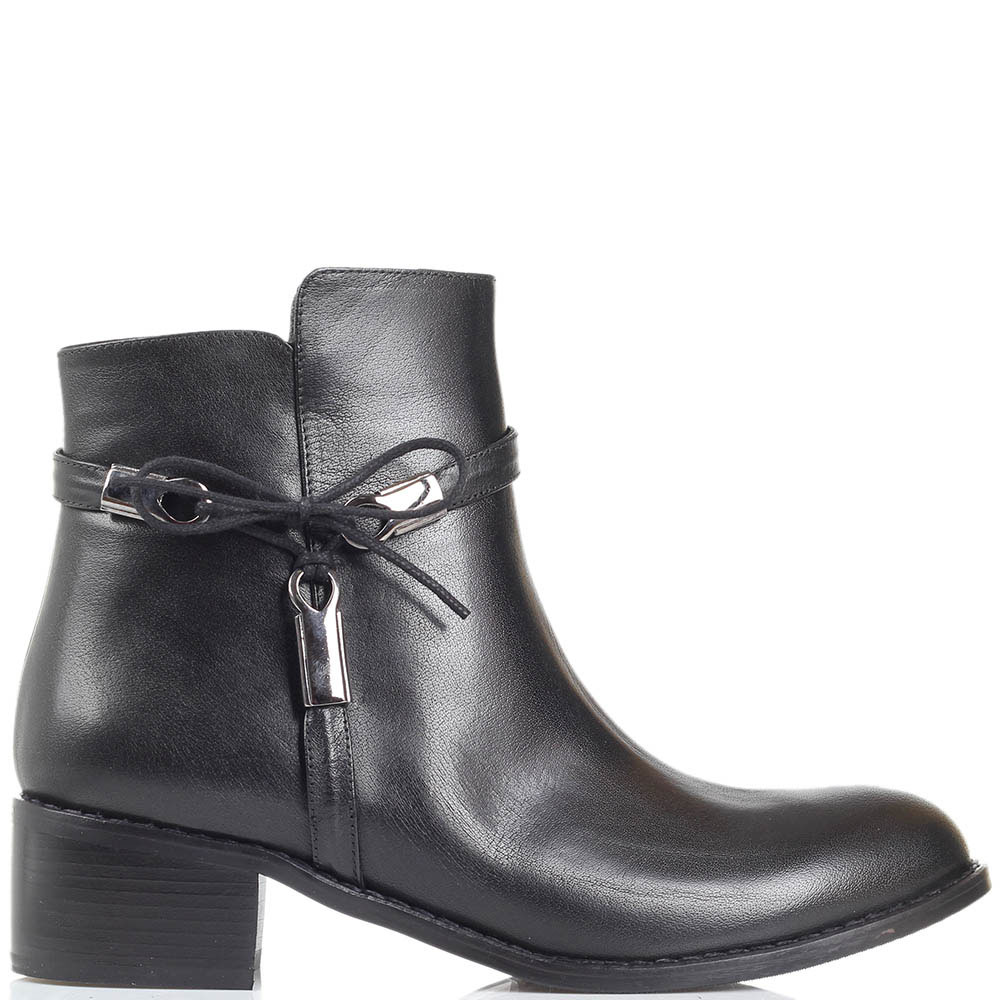 Кожаные ботинки Ginni черного цвета декорированные бантиком