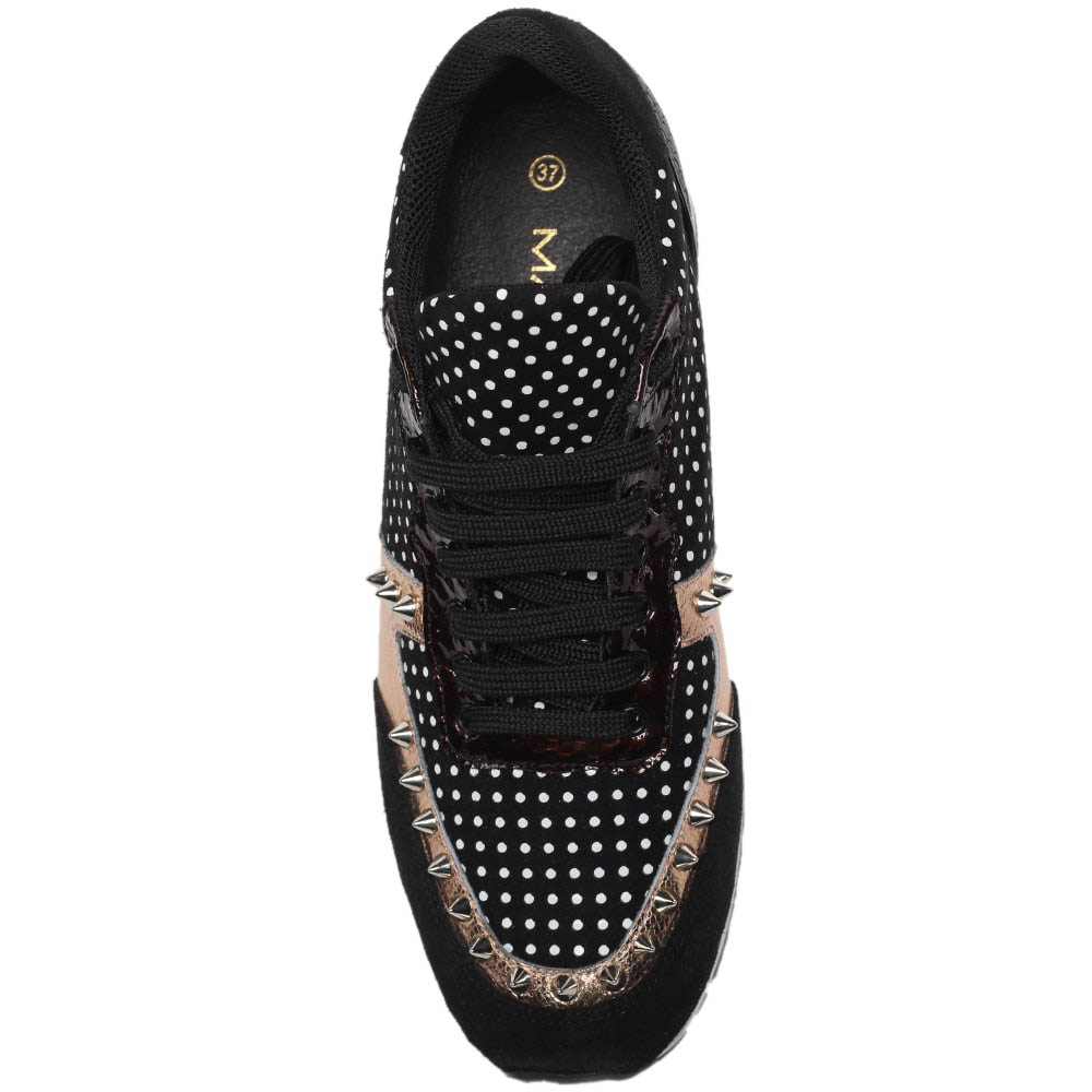 Кроссовки из замши и кожи черного цвета с золотистыми вставками MAC Collection с металлическими шипами