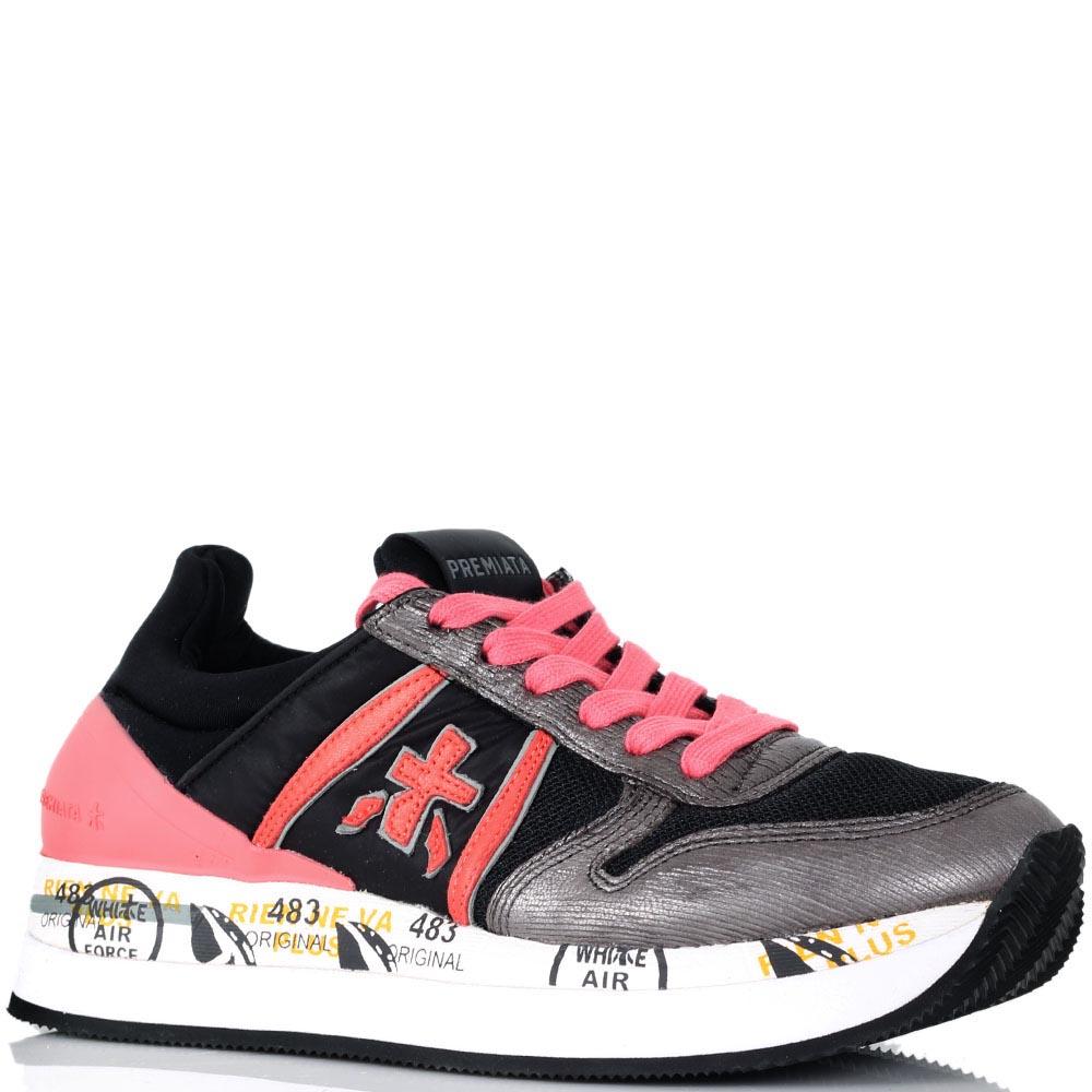 Кроссовки Premiata черные с розовыми вставками на толстой подошве