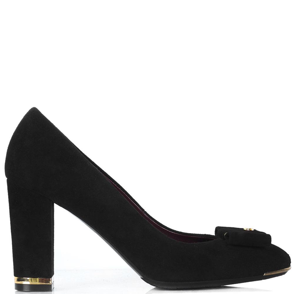Замшевые туфли Sara Kent черного цвета с бантиком на носочке
