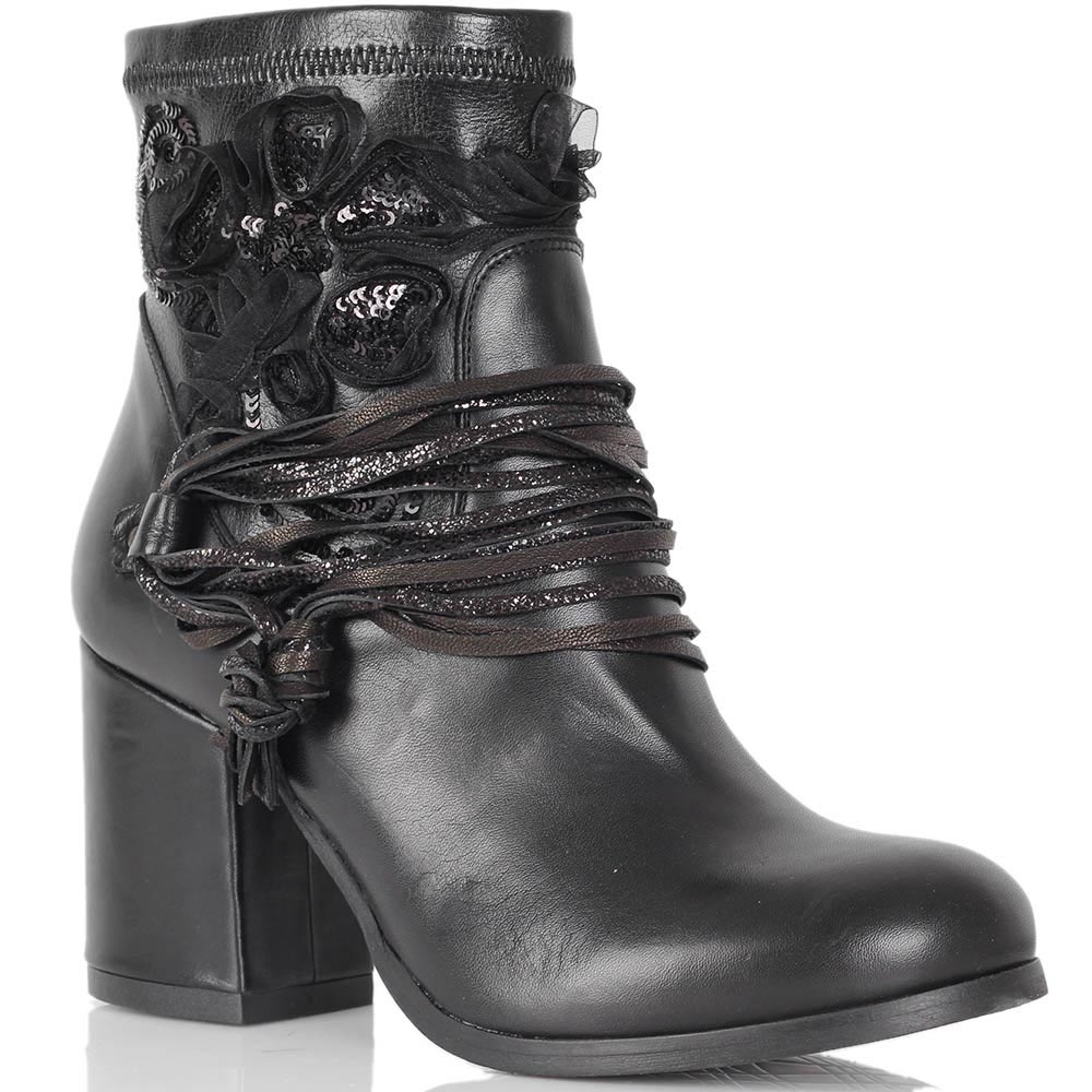 Демисезонные ботинки Mimmu из натуральной кожи с текстильным декором