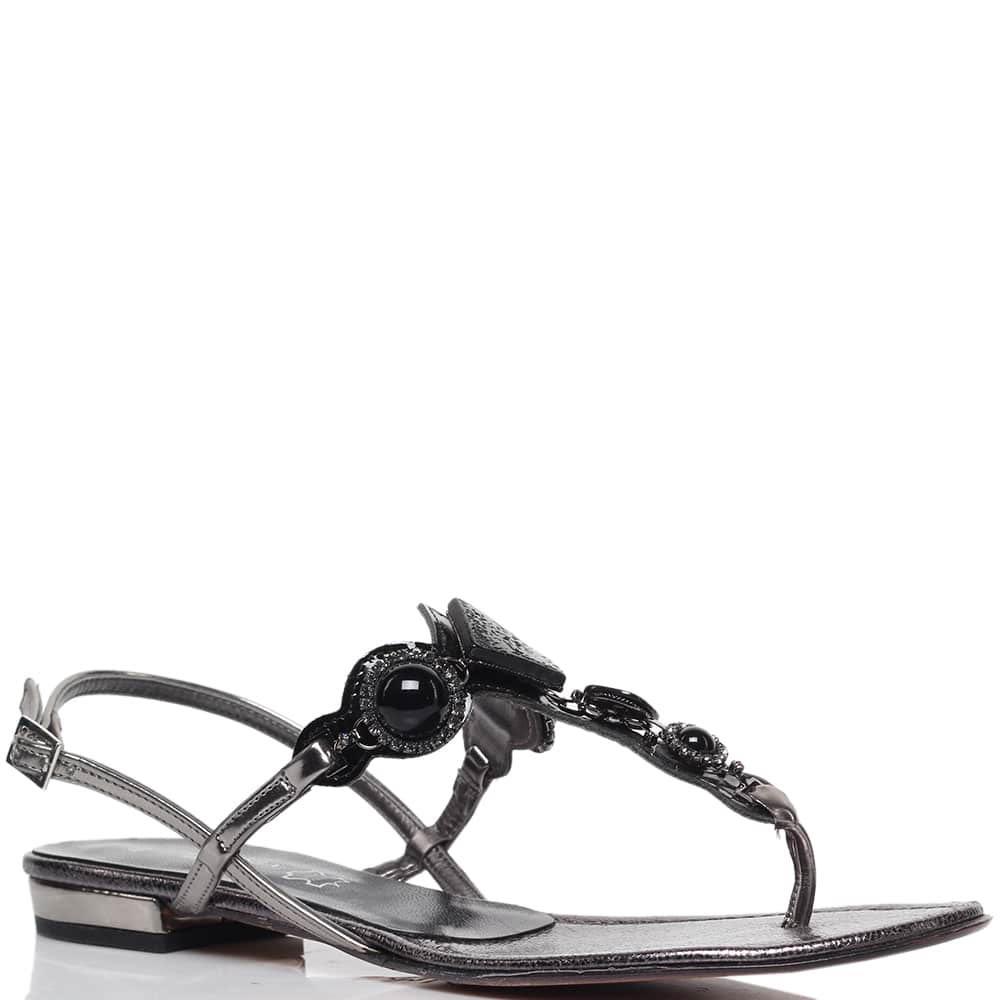 Кожаные сандалии серебристого цвета Nila&Nila с декором в виде камней