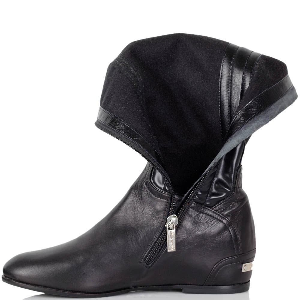 Кожаные ботфорты Loretta Pettinari черного цвета на низком каблуке