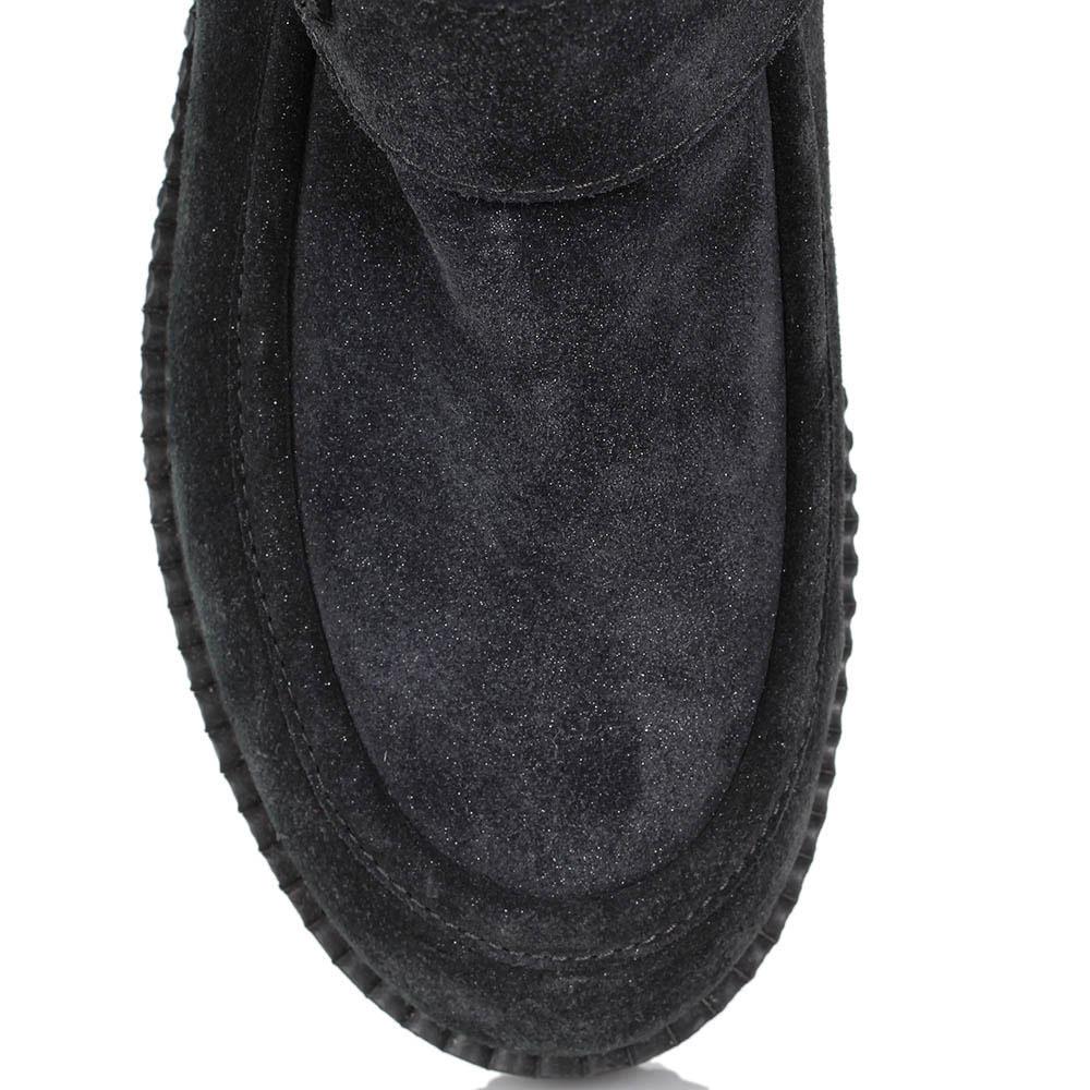 Зимние ботинки Nila&Nila из натуральной замши черного цвета