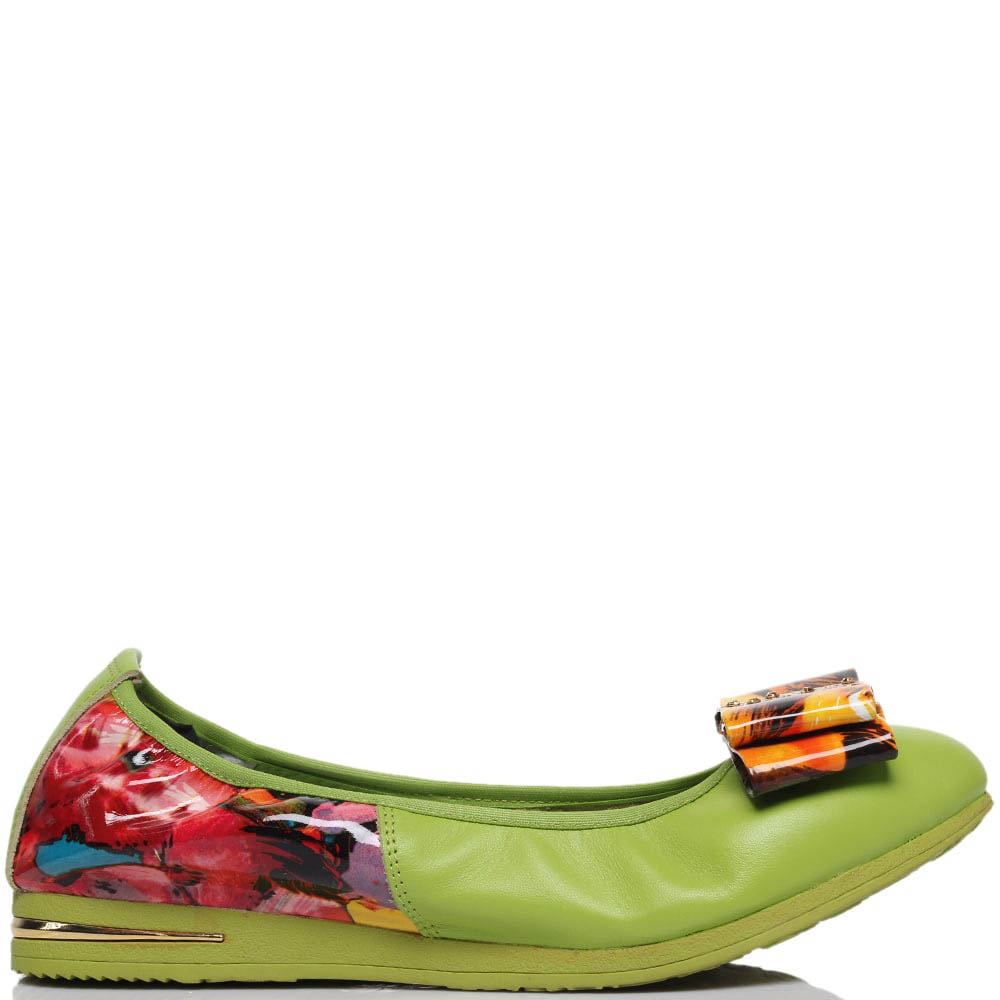 Кожаные балетки зеленого цвета с деталями с ярким принтом Francesco Valeri