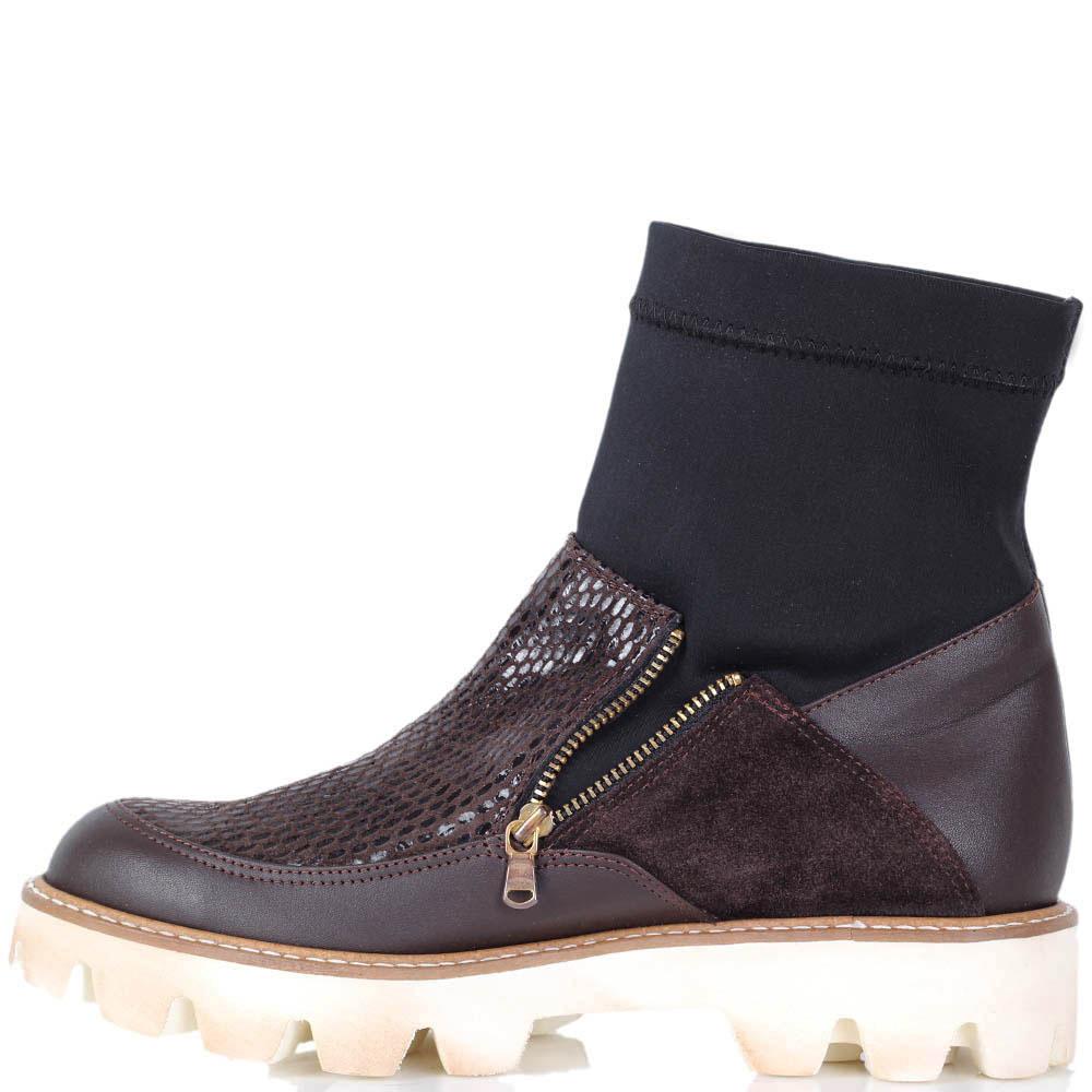 Ботинки Vicino коричневого цвета со стрейчевым голенищем