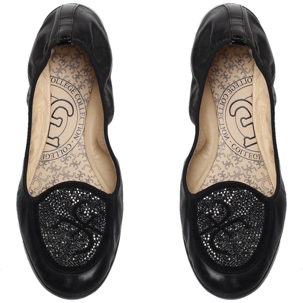 Черные кожаные балетки FABI с декором из страз