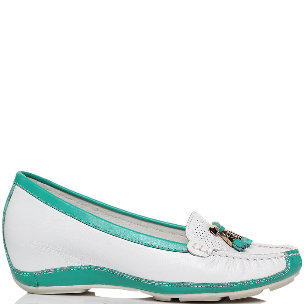 Кожаные туфли белого цвета с голубыми деталями Francesco Valeri на платформе