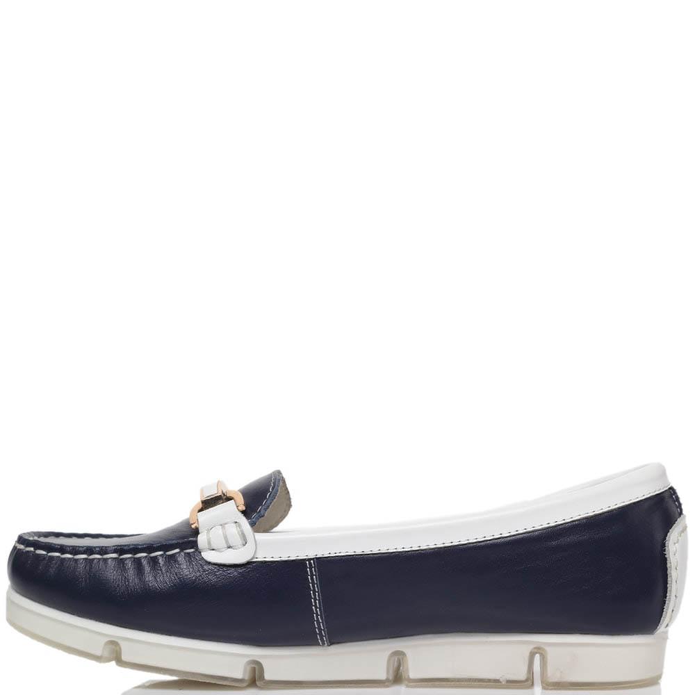 Кожаные мокасины синего цвета с деталями белого цвета Francesco Valeri