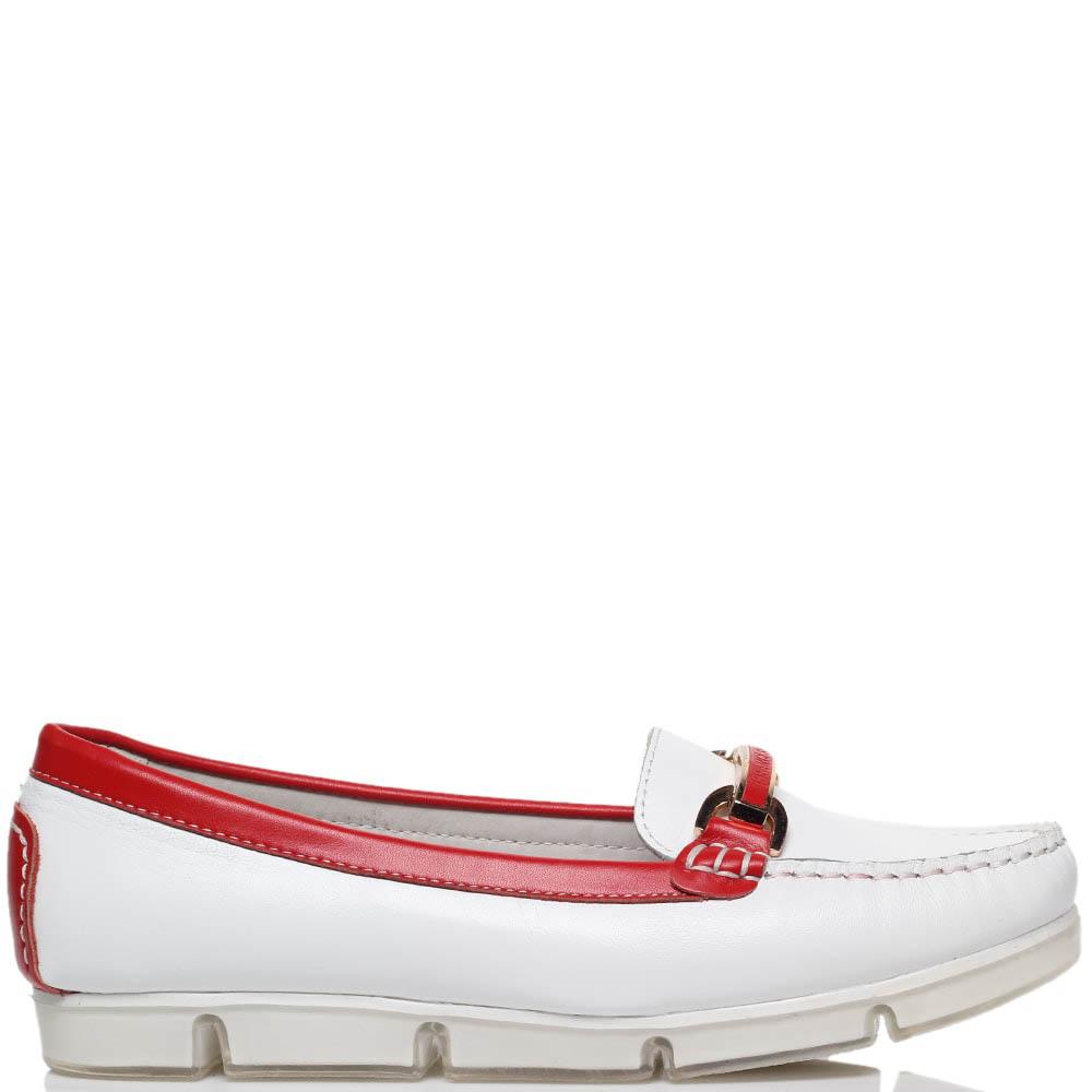Кожаные мокасины белого цвета с деталями красного цвета Francesco Valeri