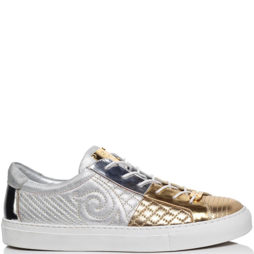 Кеды из стеганой кожи серебристого цвета с золотистым носочком Lonvie на шнуровке