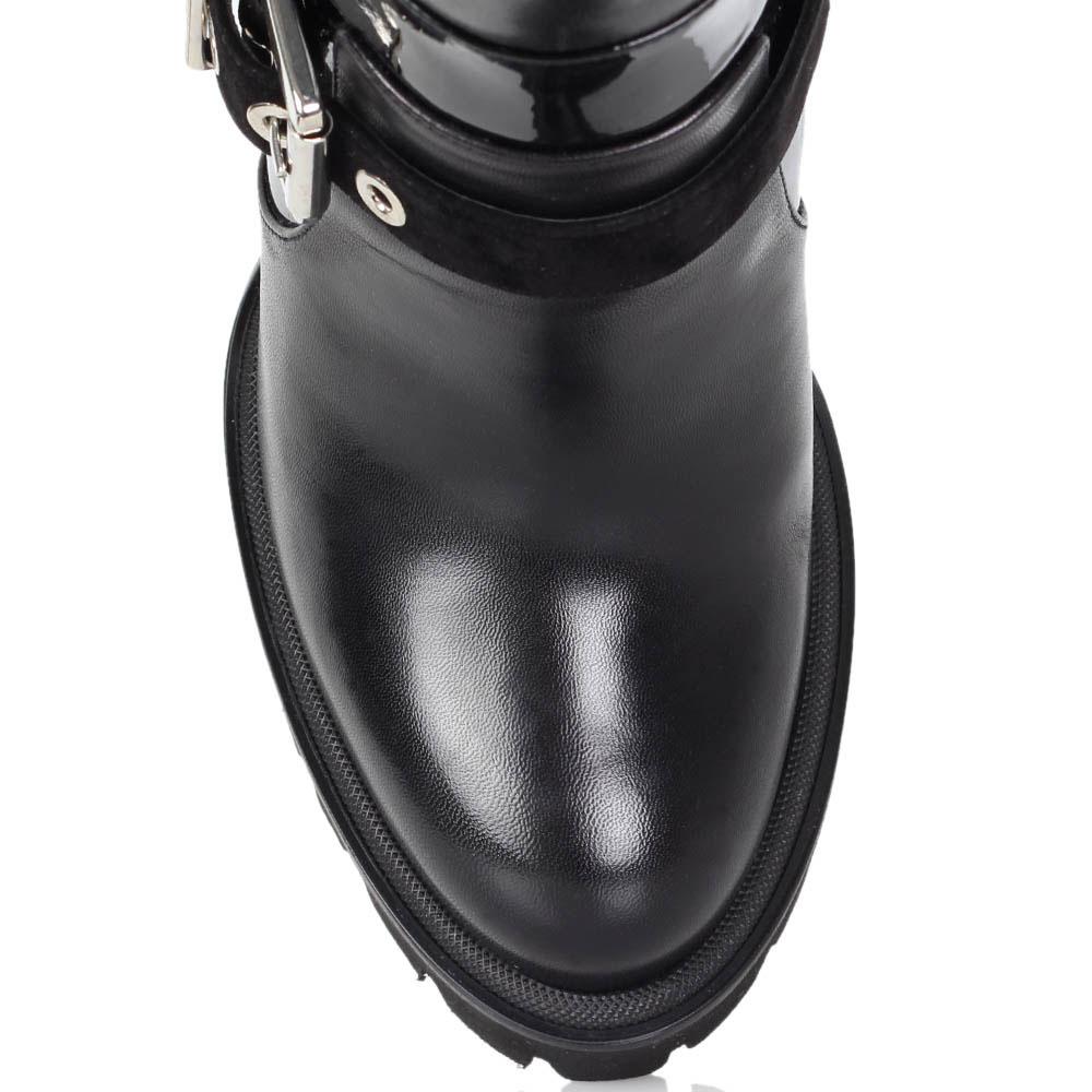 Осенние сапоги Luciano Padovan из натуральной кожи черного цвета с лаковыми вставками