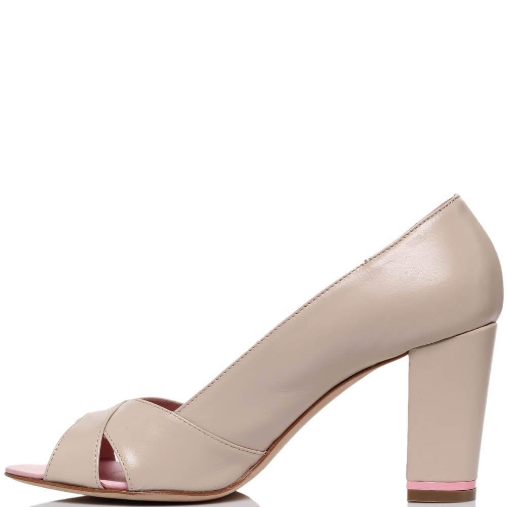 Кожаные туфли бежевого цвета Richmond с открытым носочком