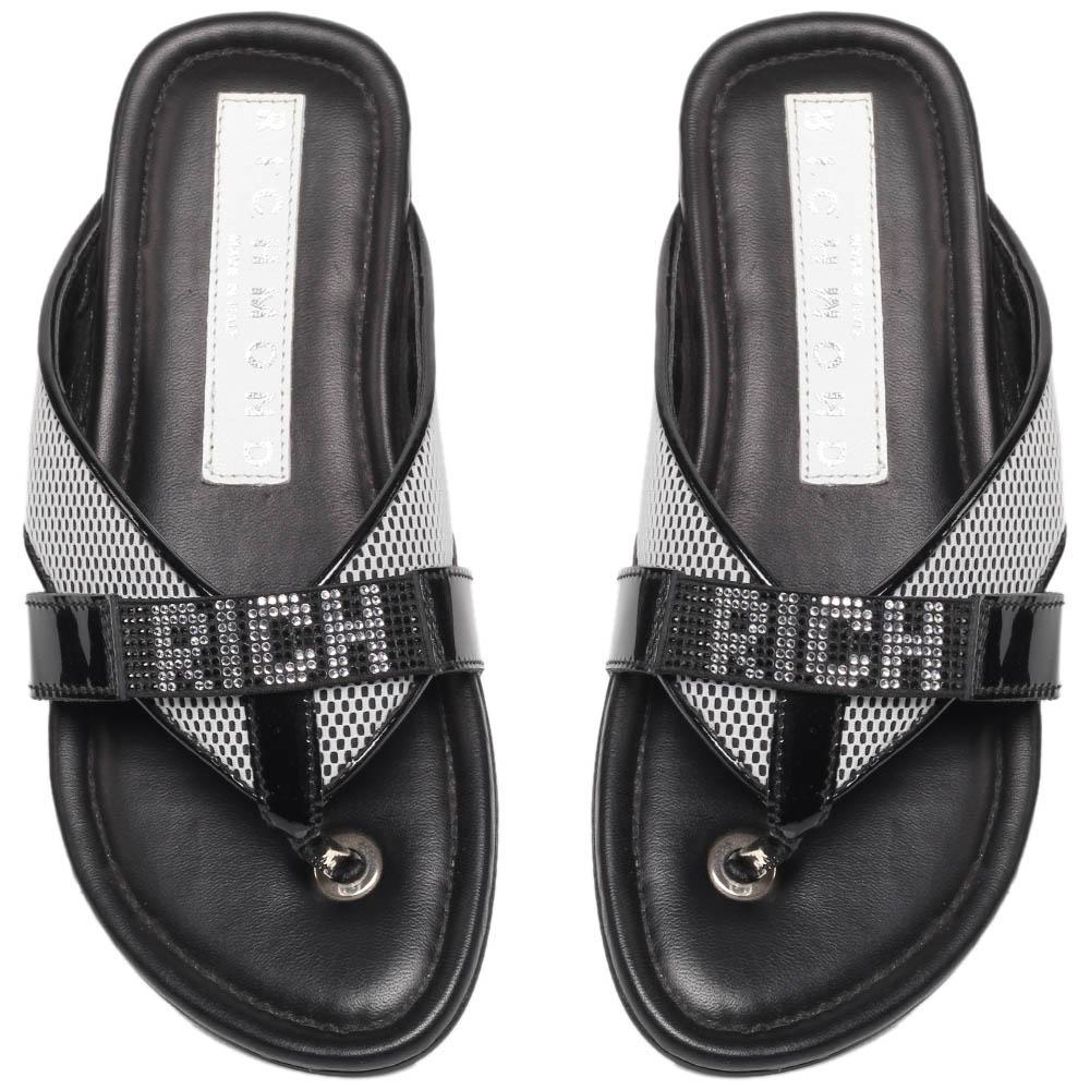 Сланцы из кожи черного цвета Richmond с надписью бренда из страз