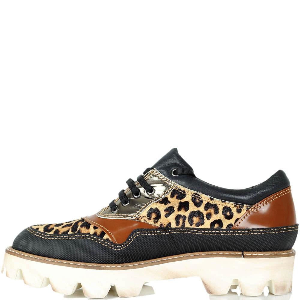 Кожаные слипоны Vicino со вставками с леопардовым принтом