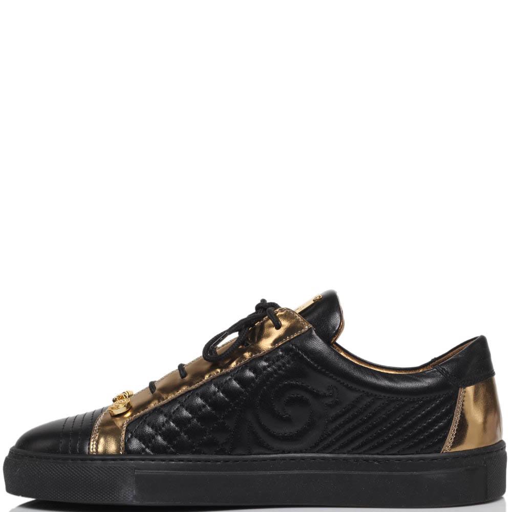 Кеды из стеганой кожи черного цвета с золотистыми деталями Lonvie на шнуровке