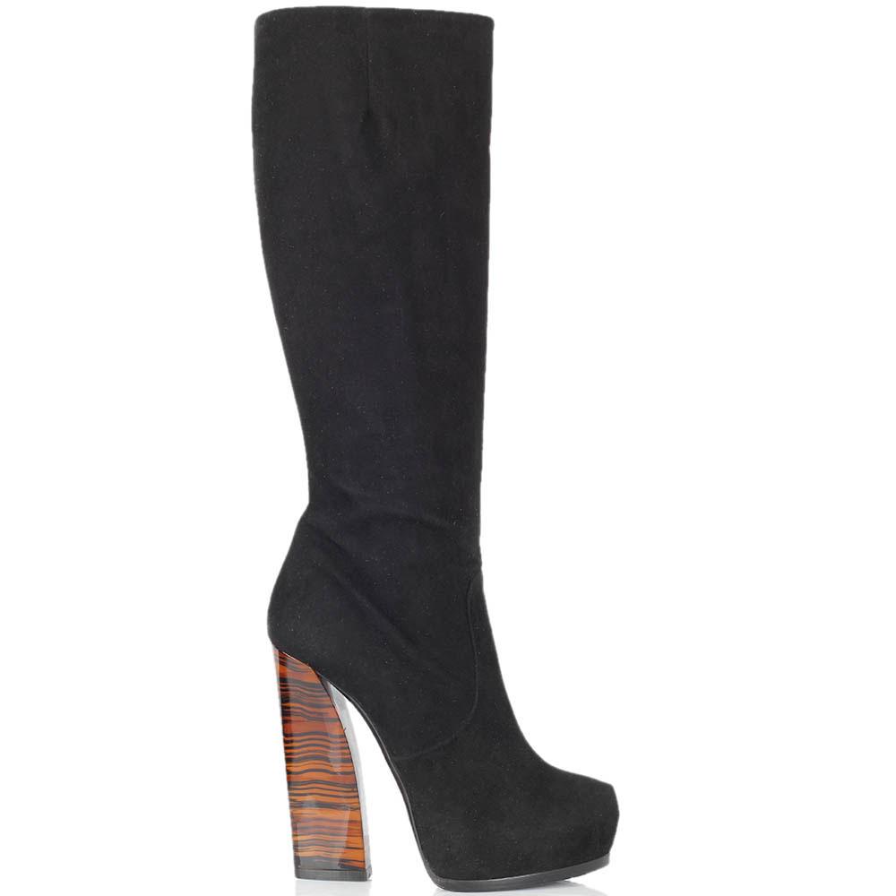 Замшевые сапоги Ballin черного цвета на высоком тигровом каблуке